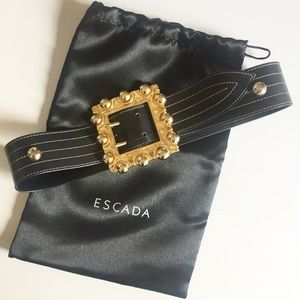 Escada Wide Black Leather Belt Gold Square Buckle